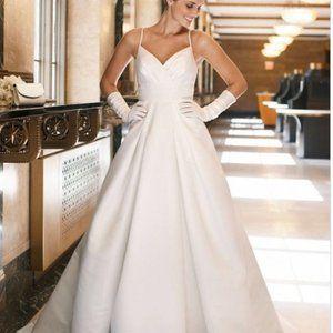Galina Ivory Taffeta Chapel Length Wedding Dress 6